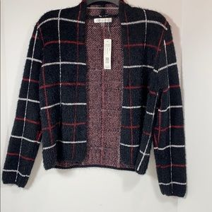 August Silk Small Fuzzy Simple Square Cardigan New